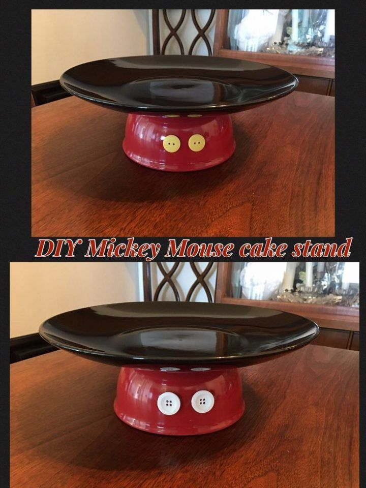 Mickey Mouse cake stand. Plate and bowl bought at The Dollar store. Yellow and white buttons( I put both colors on front and back) easy to make, and super cute!:):):) #ad – Paris Disneyland Pictures #mickeymousebirthdaypartyideas1st
