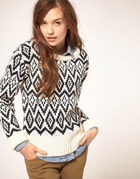 Vila Knitted Sweater in Bright Nordic Pattern  $80.57