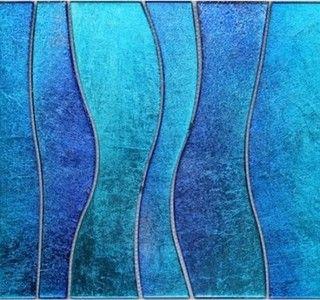 New Glass Mosaics Line Blue Wavy Tile Modern Mosaic Tile