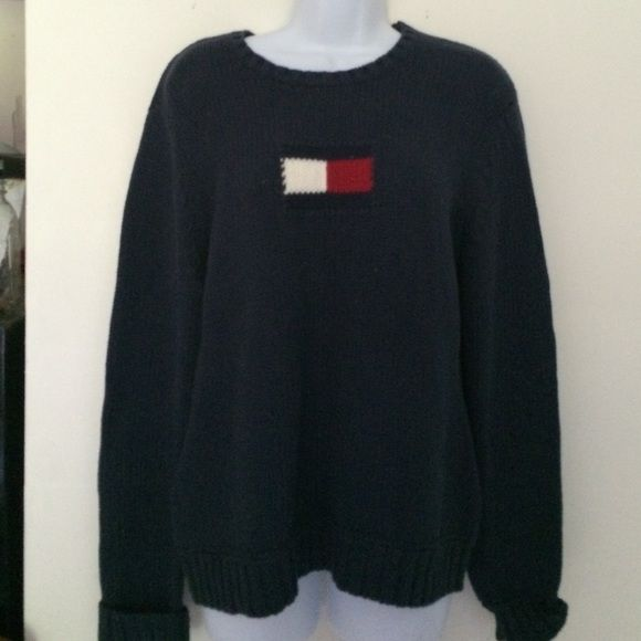 Tommy Hilfiger Large Navy Sweater EUC Excellent used condition. Made in Hong Kong. 100% Cotton Tommy Hilfiger Sweaters