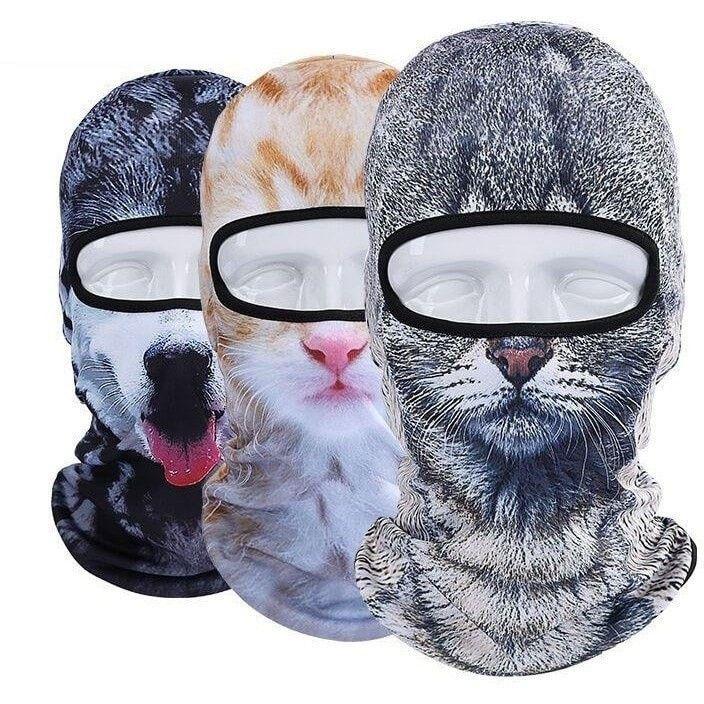 Meow Cat Girl Printed HD Ski Mask Fleeced Lined Beardo