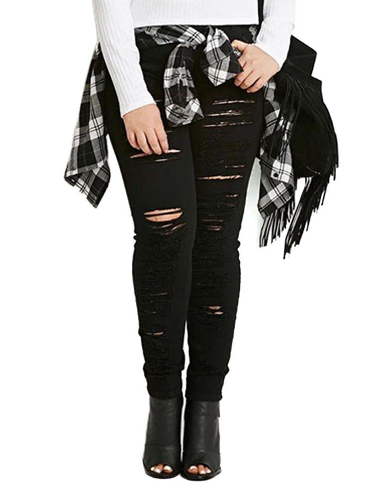 Plus Size Casual Women Ripped Black Slim Denim Jeans   Black ...