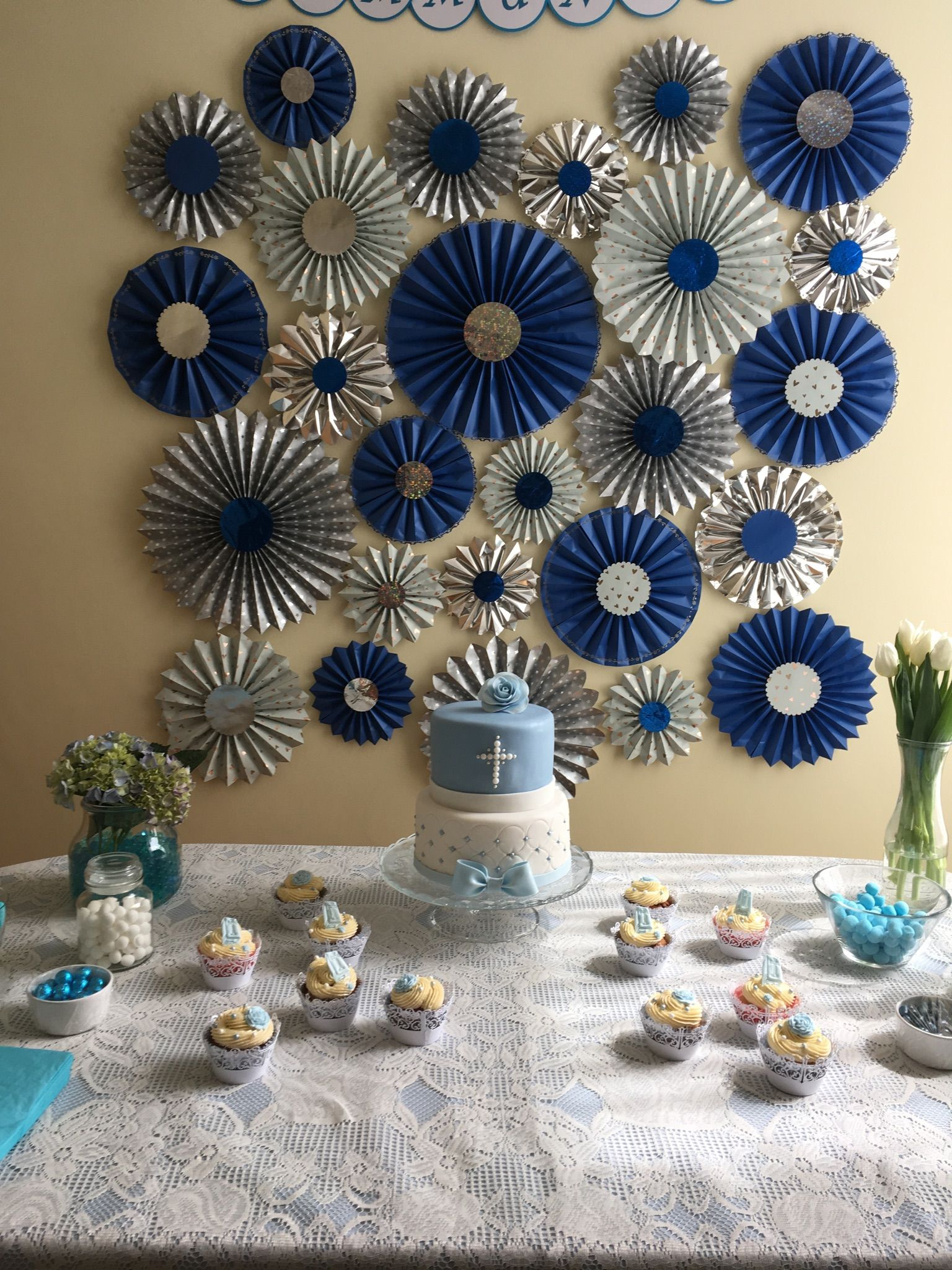 first communion party table blue and silver pinwheels first communion day first communion. Black Bedroom Furniture Sets. Home Design Ideas