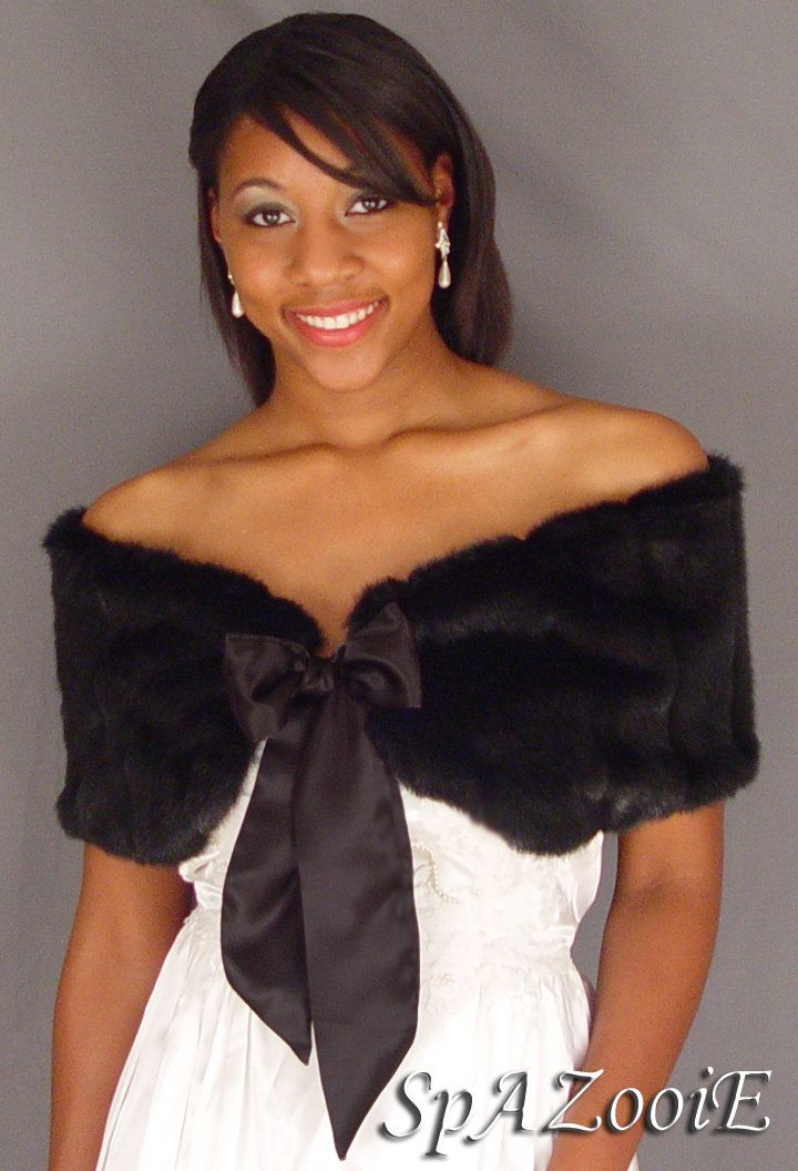 Black Faux Fur Wedding Stole Shrug Shawl Bridal Wrap Satin Tie Etsy