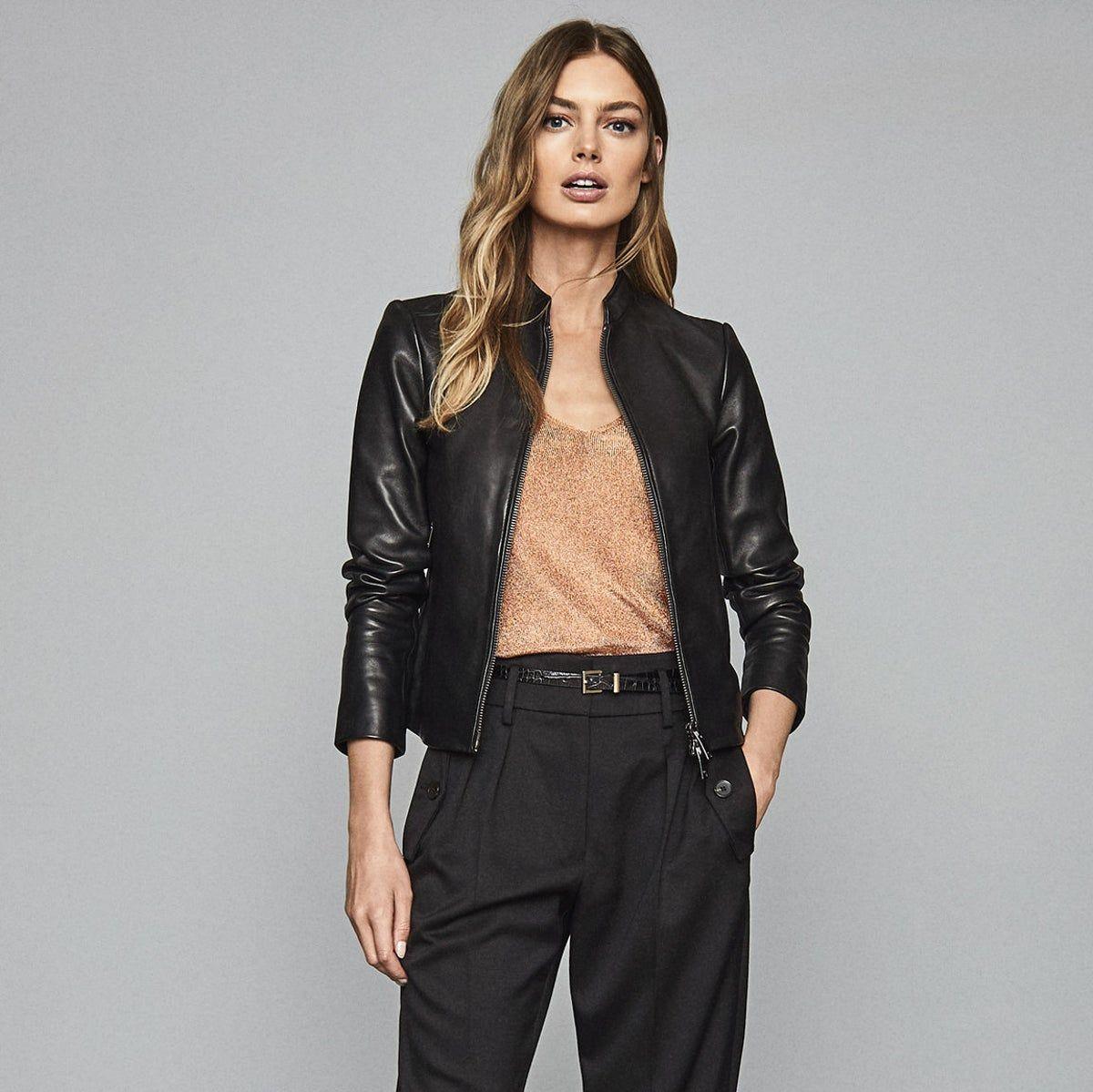Allie Black Leather Collarless Biker Jacket Reiss Leather Jackets Women Collarless Biker Jacket [ 1199 x 1200 Pixel ]