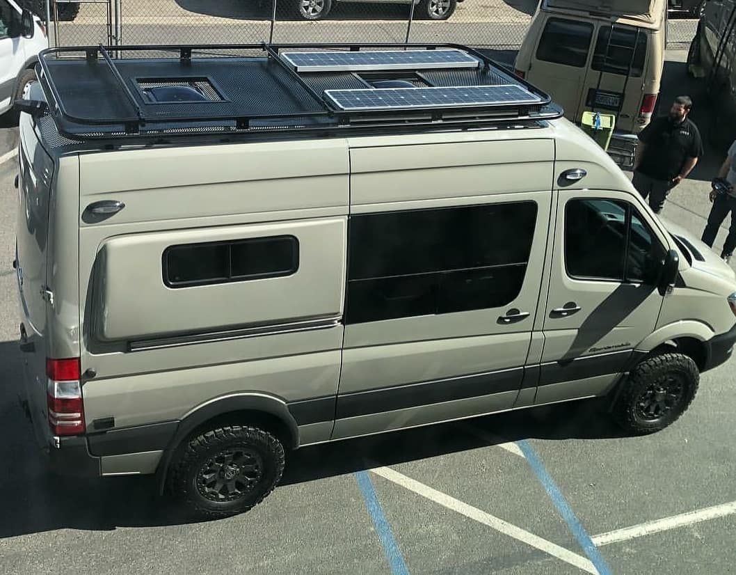 A View From The Top Of Sportsmobilewest Latest 4x4 Sprinter Van Build With Aluminess Gear Aluminess Roofrack S Sprinter Van Van Ford Transit Roof Rack