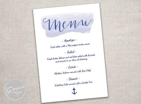 Nautical Watercolor Navy Menu Template Blue Calligraphy Font