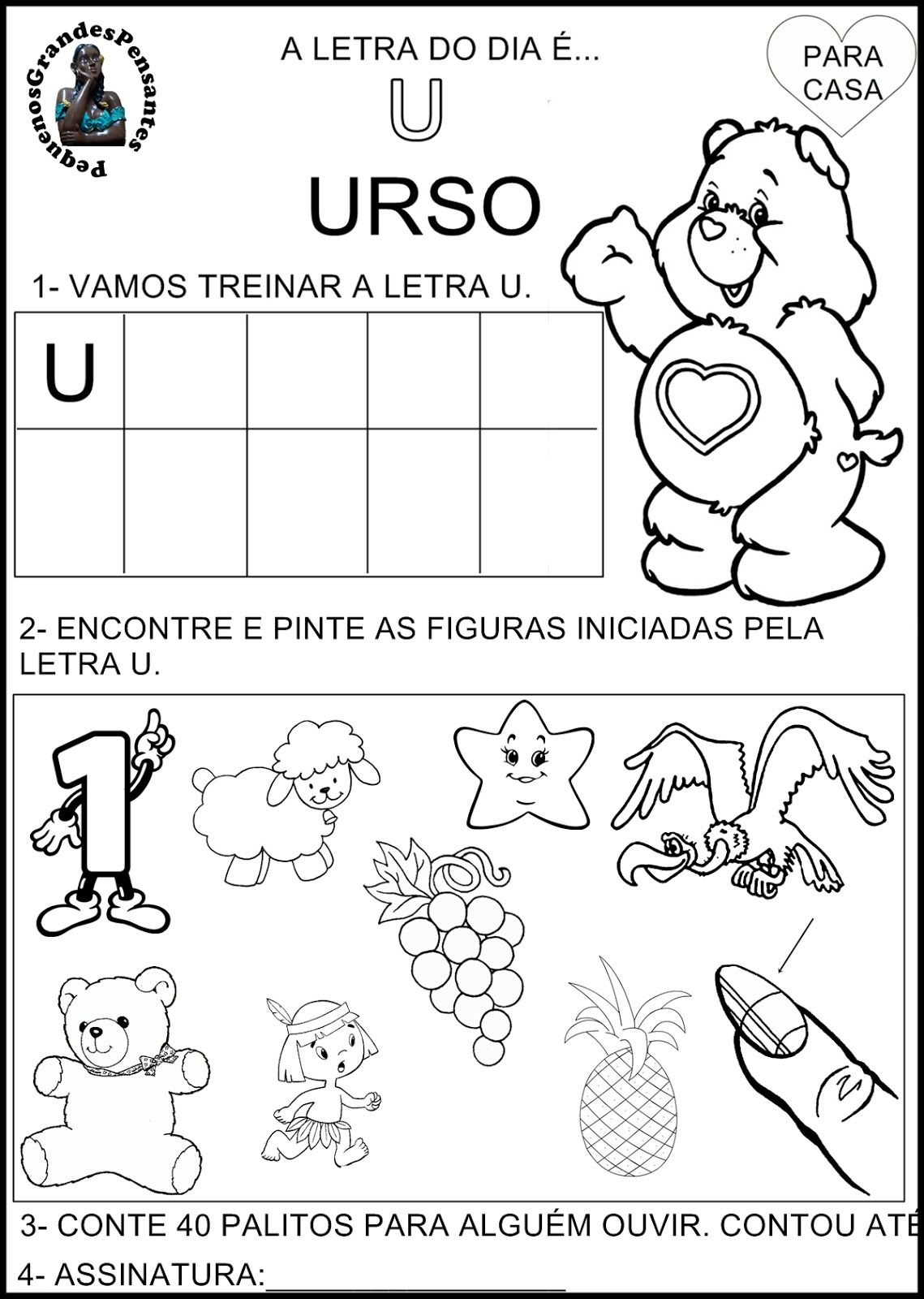 Extremamente Novas Atividades com a Vogal U - Educação Infantil | Educação  KP04