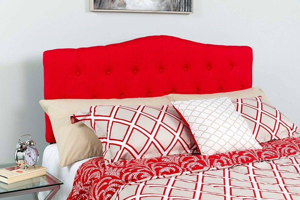 A Bright Red Headboard So You Can Give Your Room A Pop Of Color
