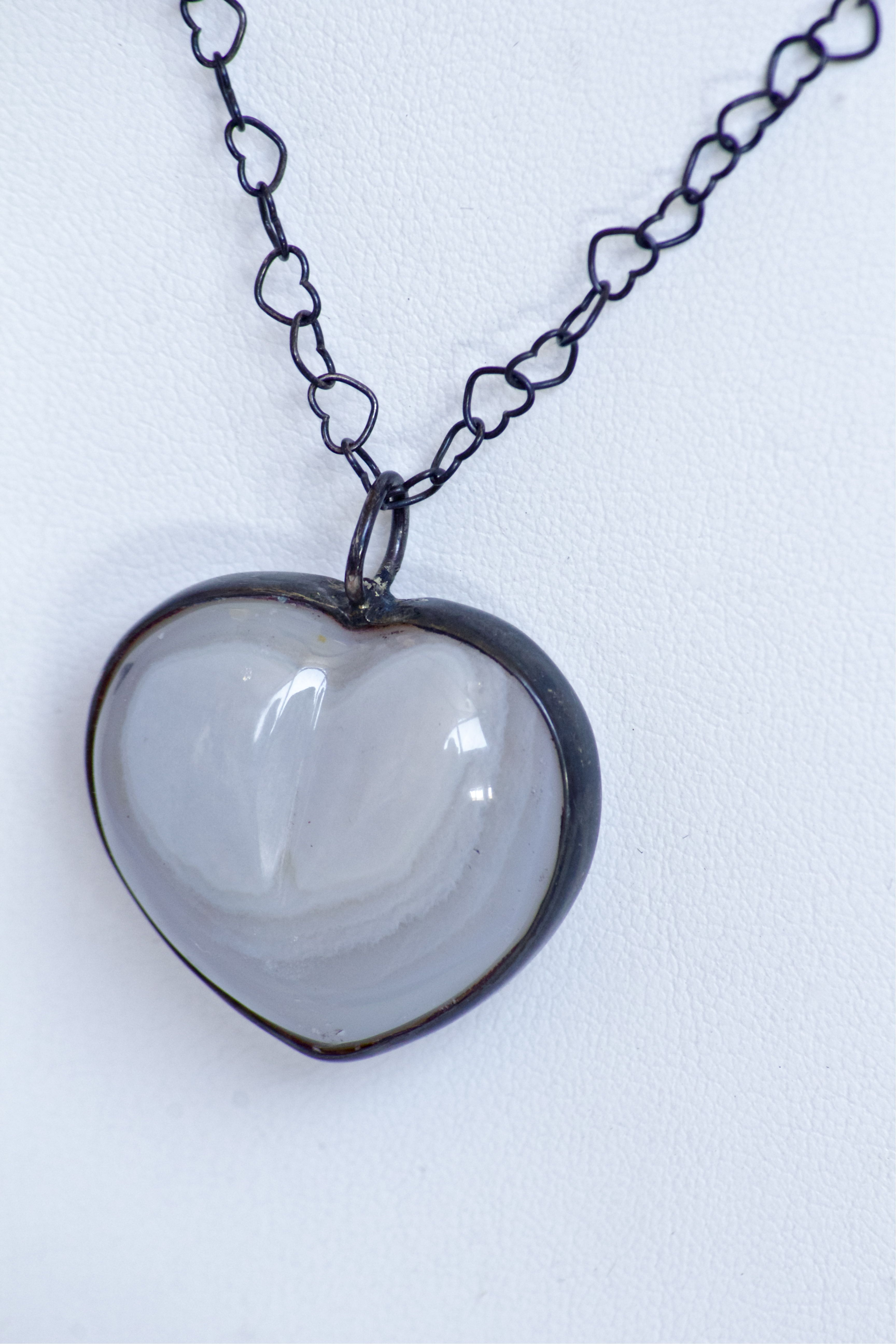 Love Grows Everything Heart Pendant Agate with Open Heart Chain