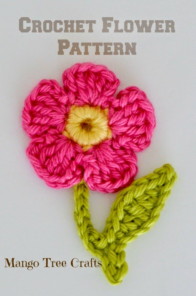 Free Crochet Flower Applique Pattern (Mango Tree Crafts) | Flower ...