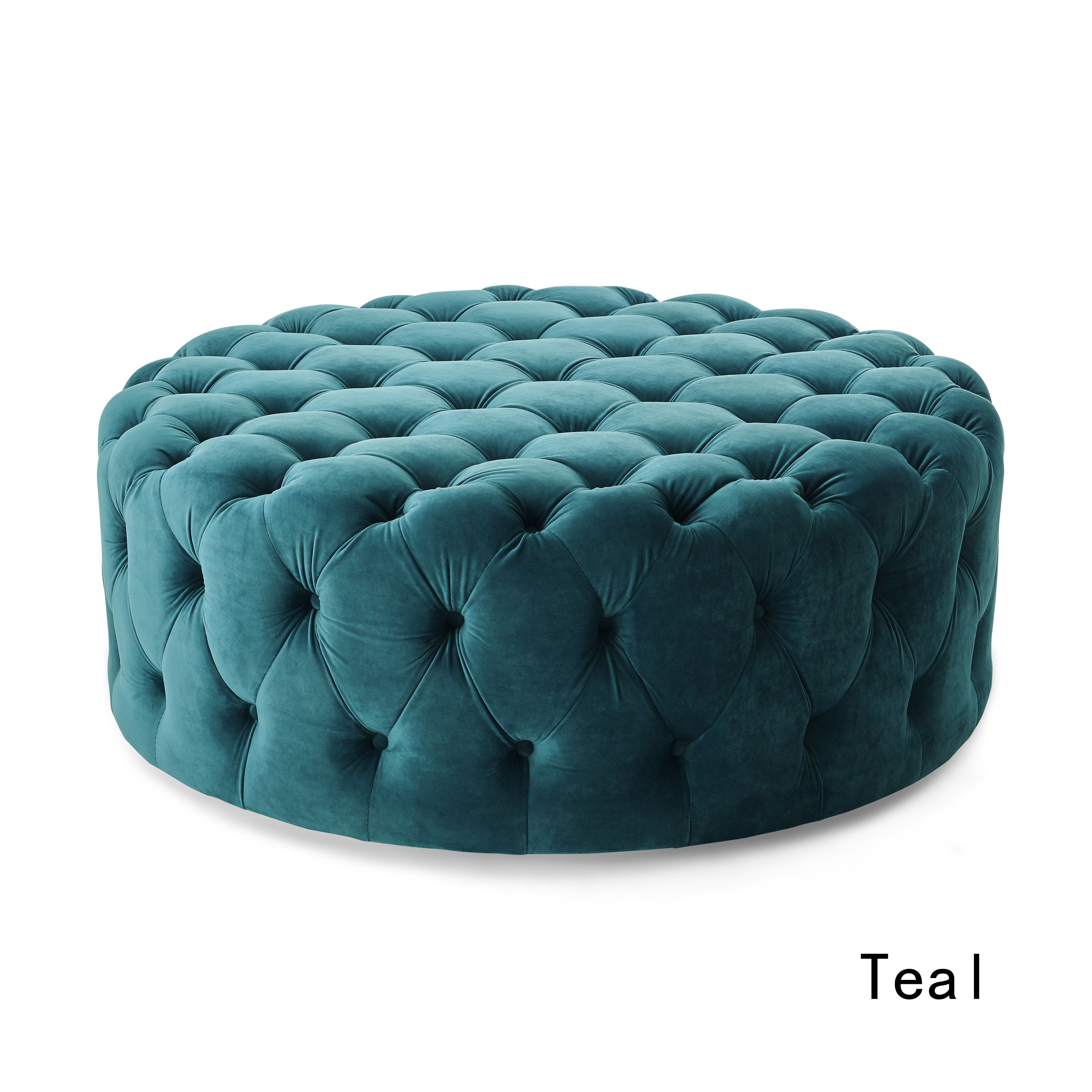 Sensational Corvus Padova Round Tufted Velvet Ottoman With Casters Teal Andrewgaddart Wooden Chair Designs For Living Room Andrewgaddartcom