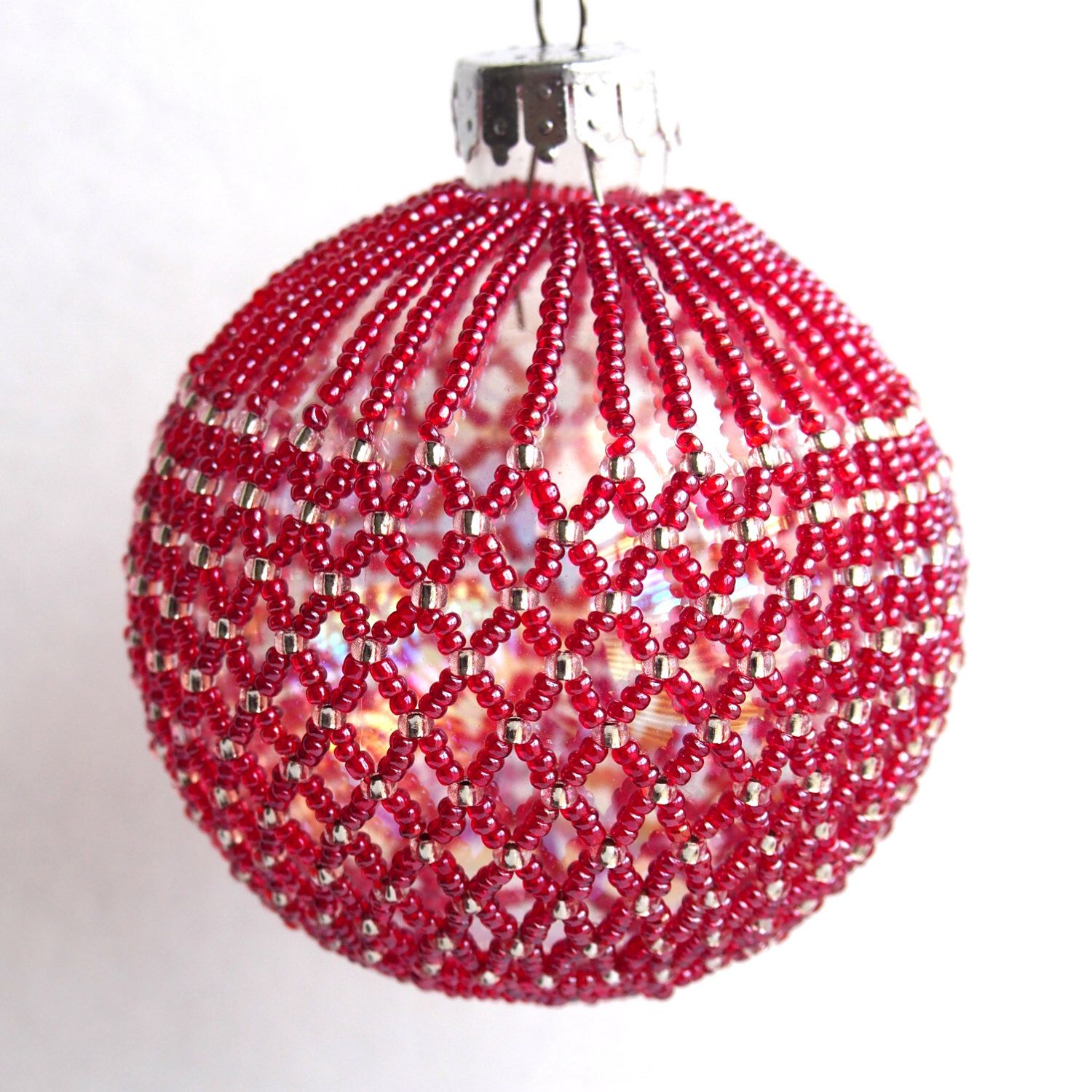 Red Beaded Christmas Ball Ornament Beaded Christmas Decorations Beaded Christmas Ornaments Beaded Ornament Covers