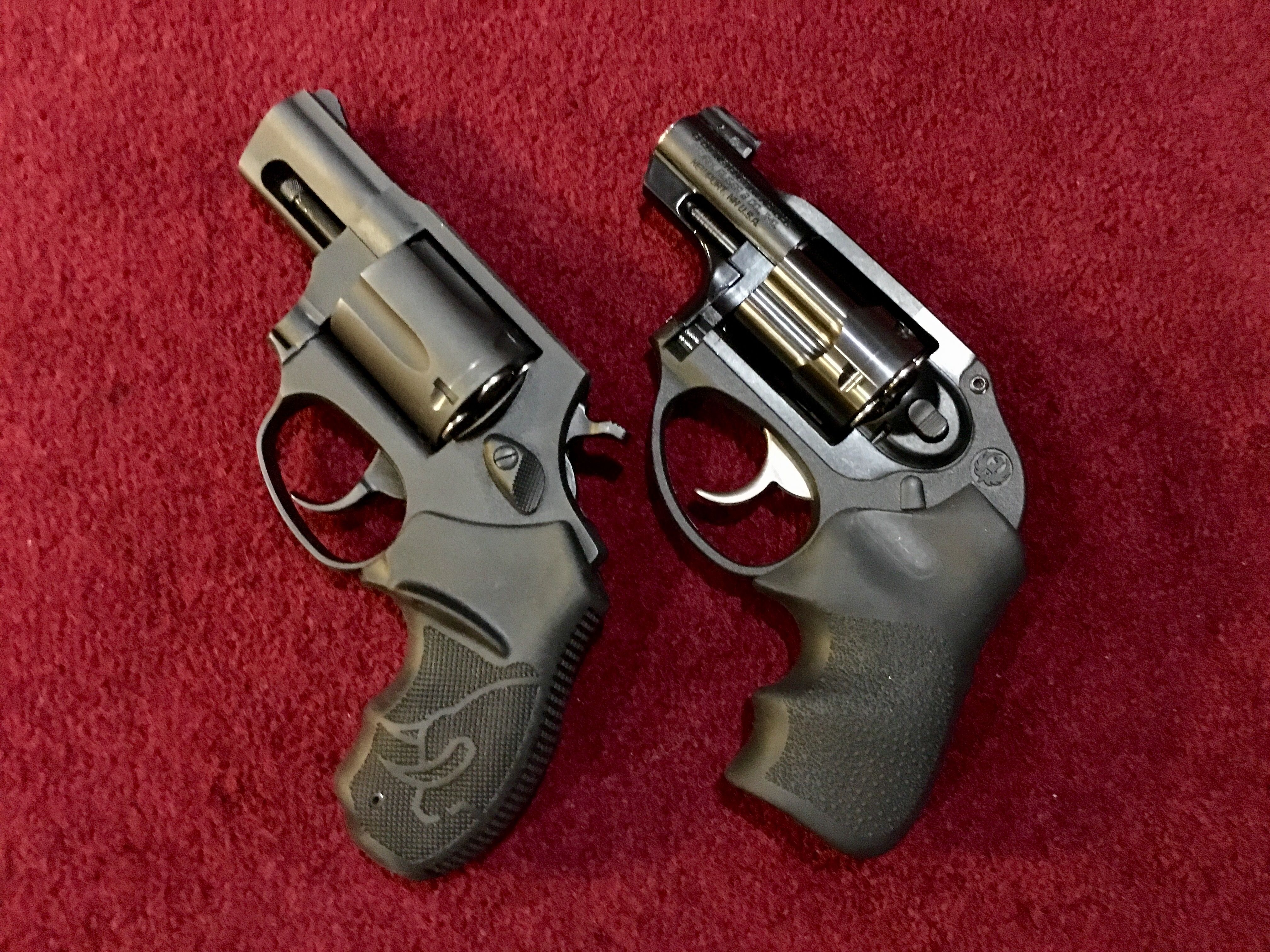 Left; Taurus 85 357 Magnum, Ruger LCR .38 +P with front night site.