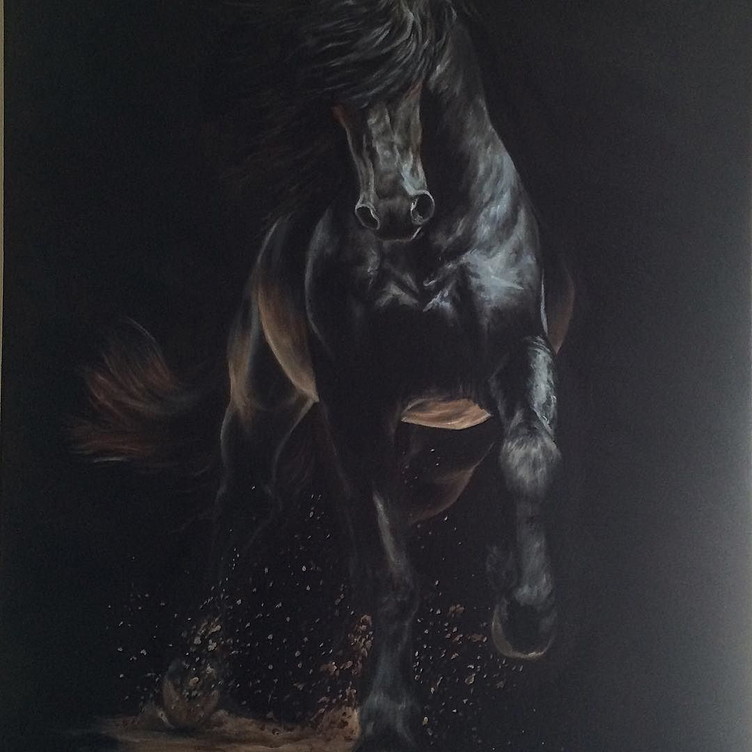 Currently untitled...22x28 oil on canvas. Reference provided by Emma McLean of EMclean Photography! #friesianlove #blackhorse #horsepainting #oilpainting #friesianhorse #friesian #friesiansofinstagram #friesianart #friesians