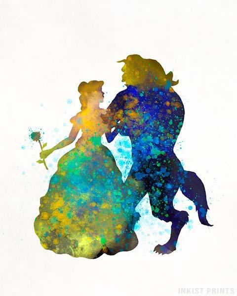 Beauty and the Beast Disney Print Poster Watercolor Framed Canvas Wall Art