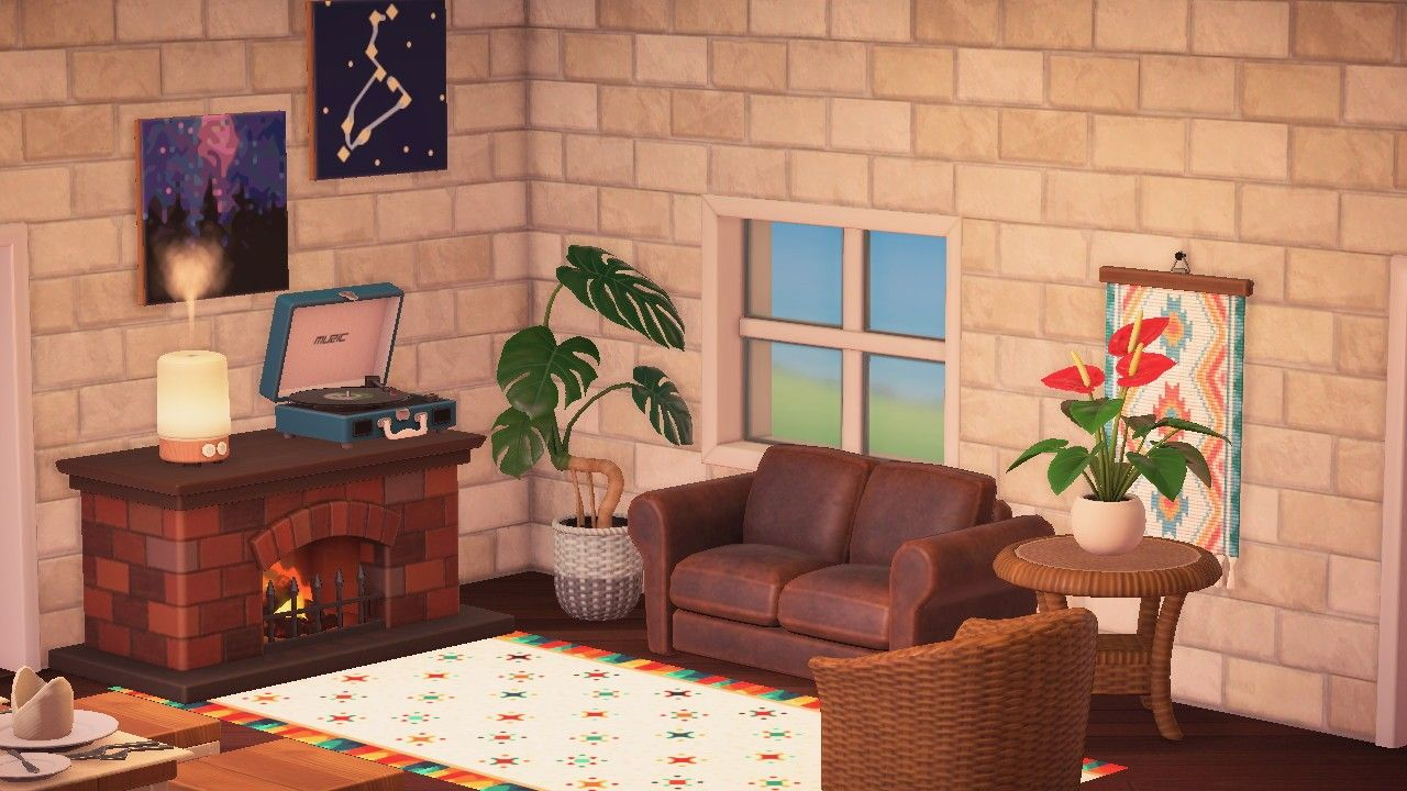 Acnh Living Room In 2020 New Animal Crossing House Interior Living Room Designs