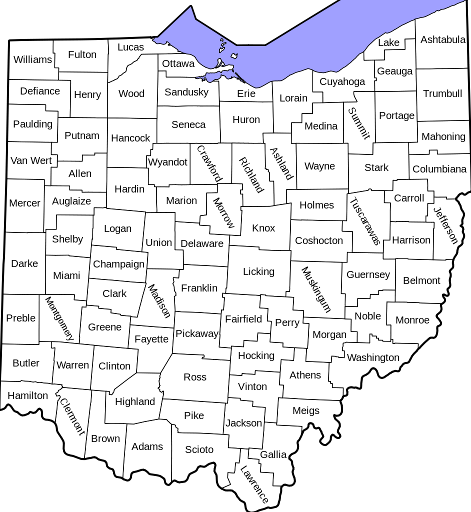 County Map Of Ohio