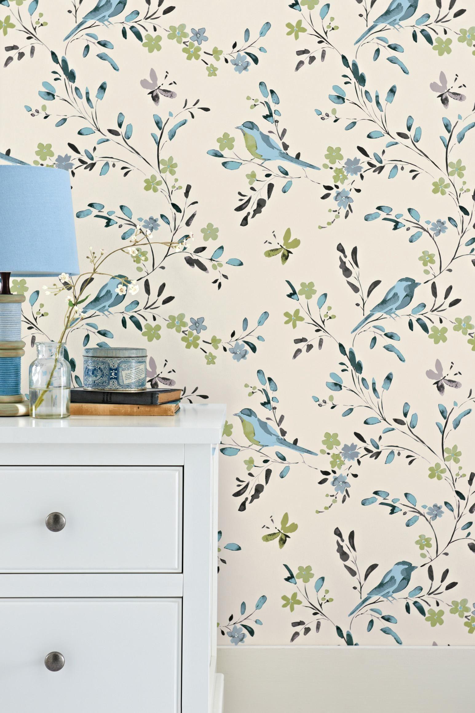 teal bird wallpaper Bird wallpaper, Home decor decals