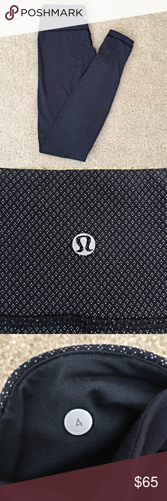Lululemon Wunder Under Leggings Navy Diamond Dot pattern in great condition. I bought these from another Posher and decided they weren't quite the right size. lululemon athletica Pants Leggings