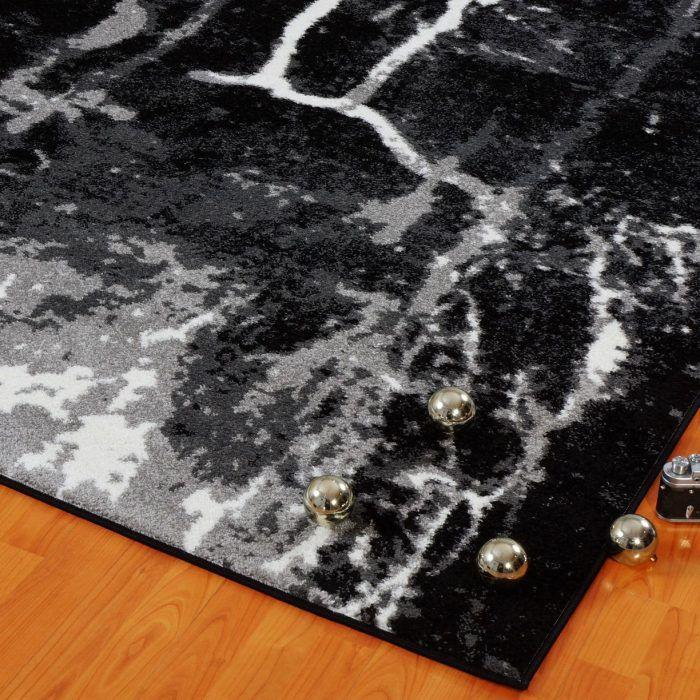 Grey Black Watercolor Abstract Area Rug Contemporary Black Grey