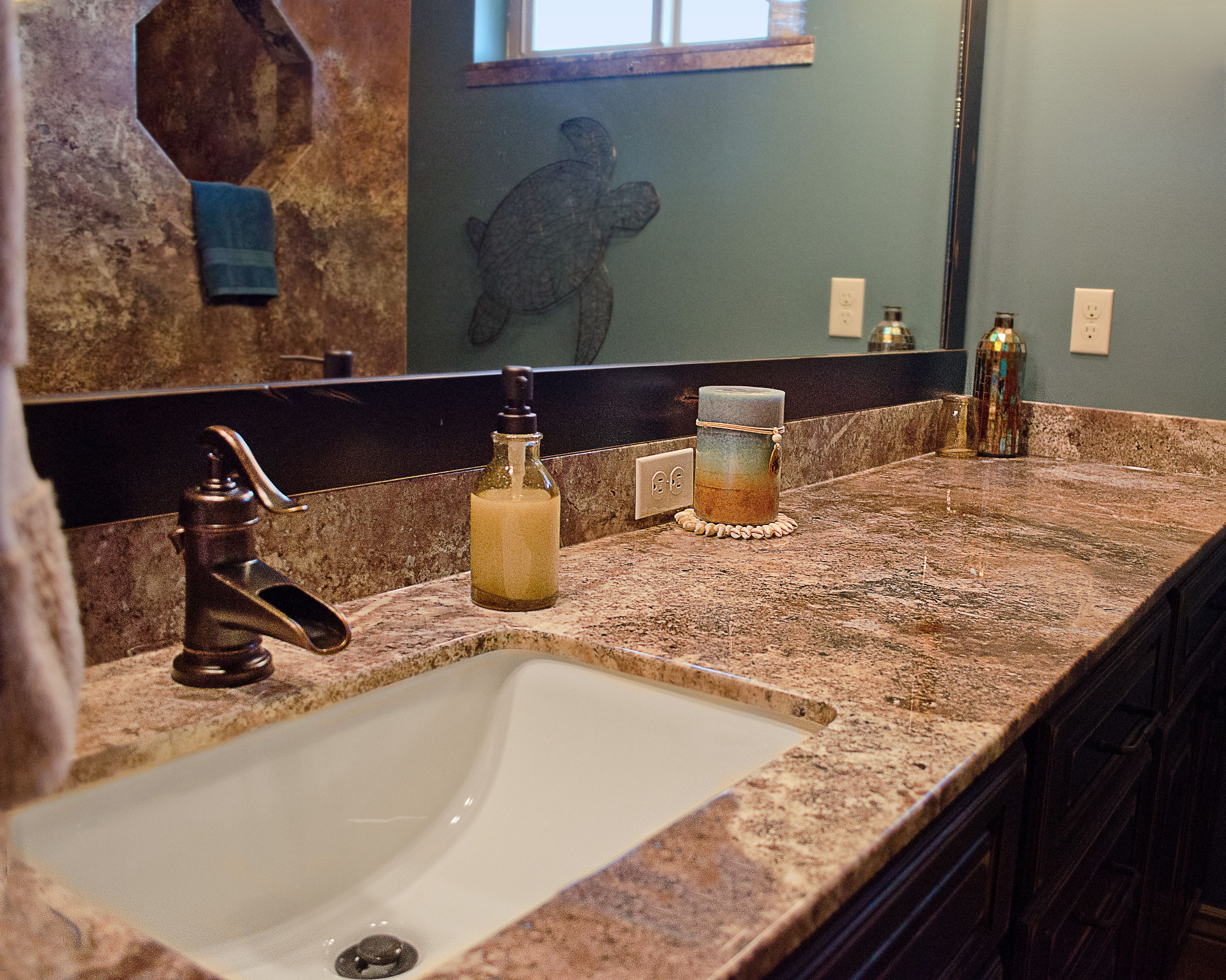 Trustone Cultured Marble In Abalone Travertine With Mediterranean Blue Paint Cultured Marble Mediterranean Blue Paint Bathrooms Remodel