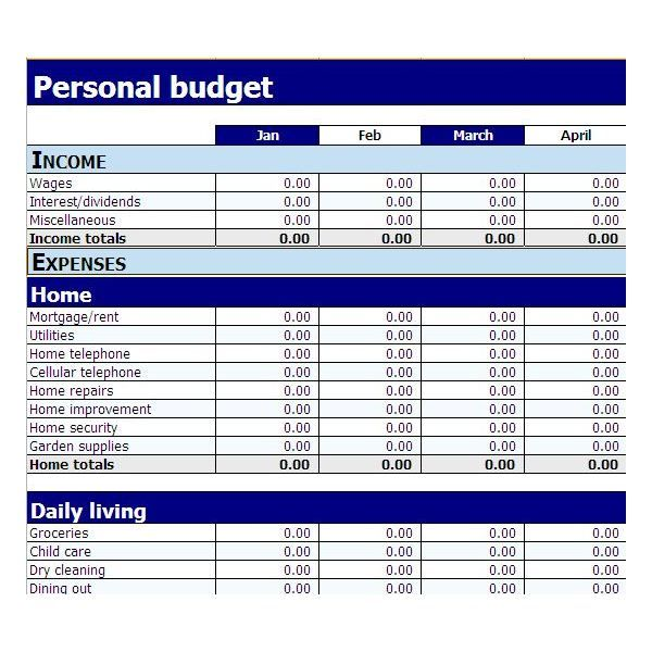 template simple monthly budget amp free for pdf xltx Home Design - sample monthly budget template