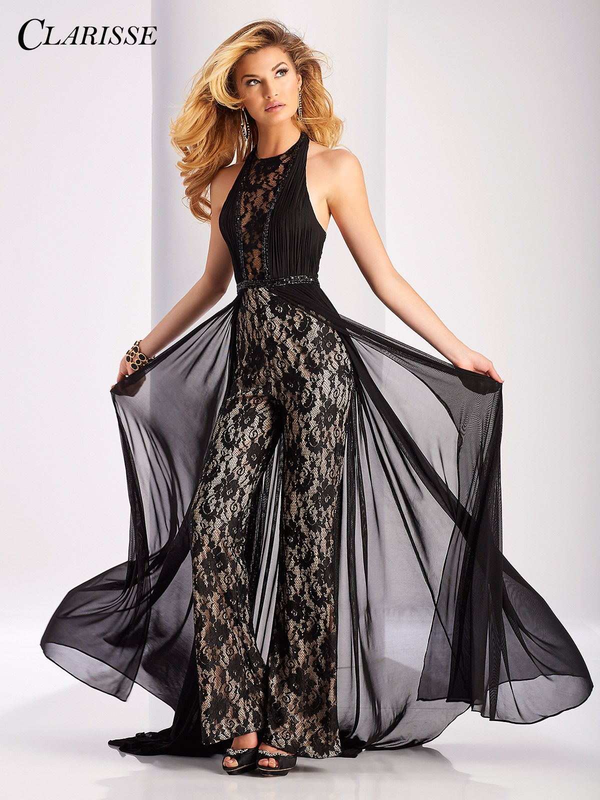 19f59bc6e09 Clarisse Prom Dress 3114. Show stopping lace jumpsuit featuring a halter  neckline