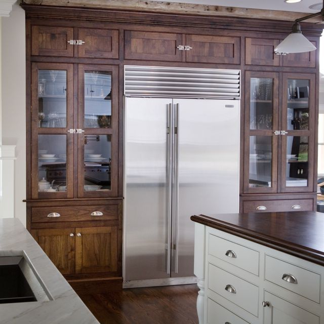 dark-stained cabinetry LOVE the stained AND painted ...