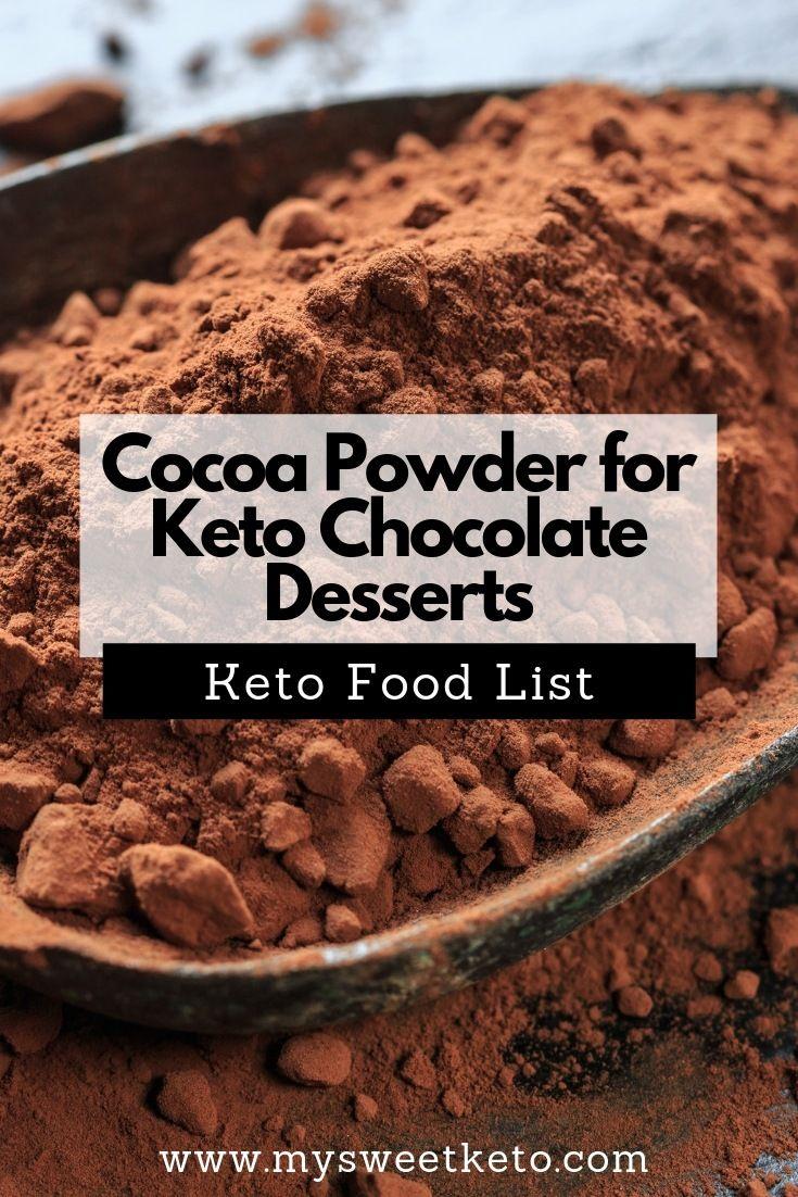 Cocoa powder for keto chocolate desserts sugar free