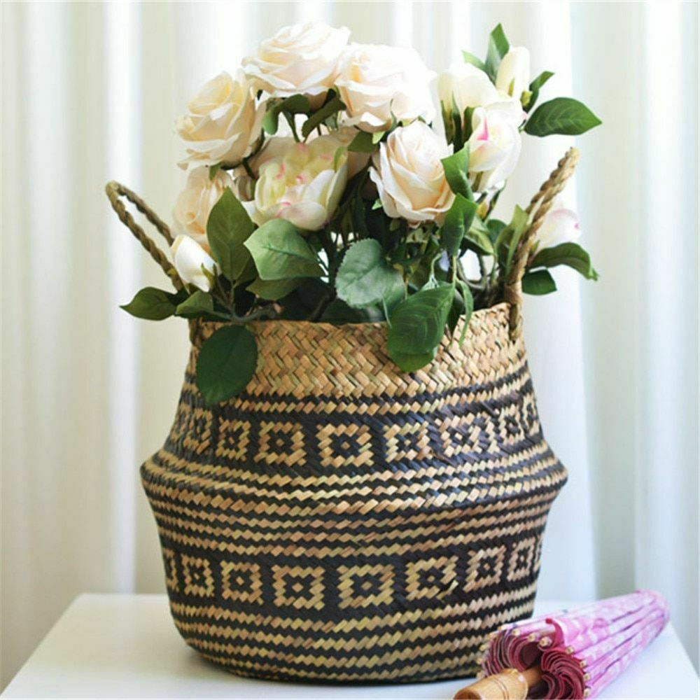 Weaved Basket Plant Pot Folding Seagrass Wicker Planters Home Garden Decorations Fashion Home Garden Homedcor Baskets Ebay Link With Images Flower Pots