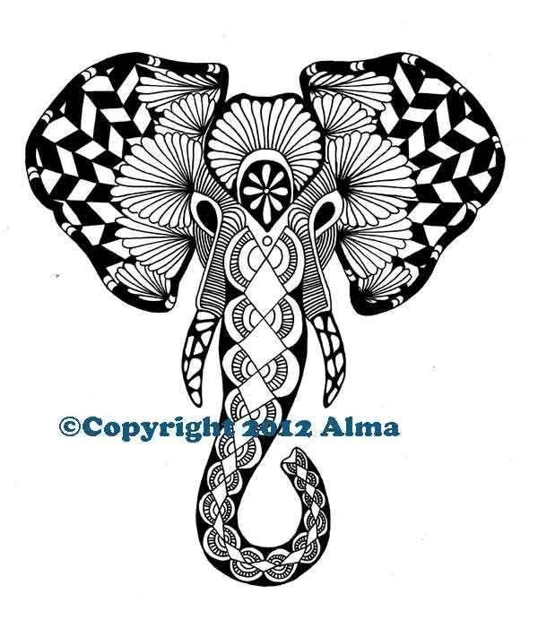 Zentangle: Elephant | Zentangle | Elephant, Zentangle elephant ...