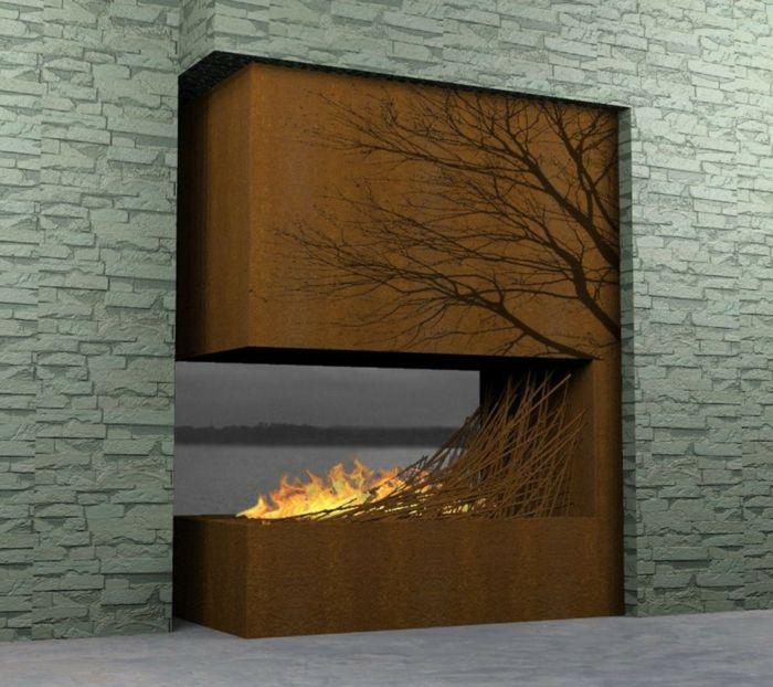 feuerstellen im garten bauen kamin decke wanddesign Haus und - wanddesign