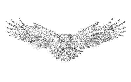 Zentangle águila estilizada. Boceto para colorear página, tatuaje o ...