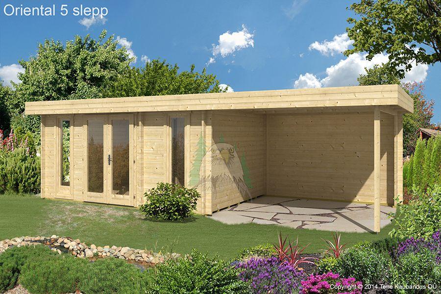 Flachdach Gartenhaus Modell Oriental5 mit Seitendach