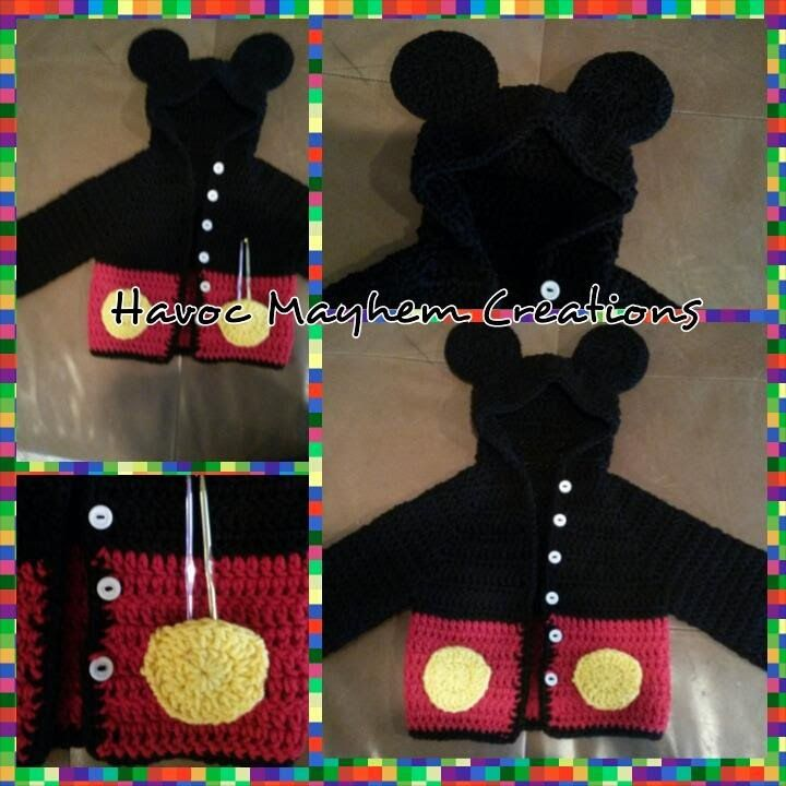 Tutorial How to Crochet a Mickey Mouse Baby Sweater Hoodie (Part 2/3 ...