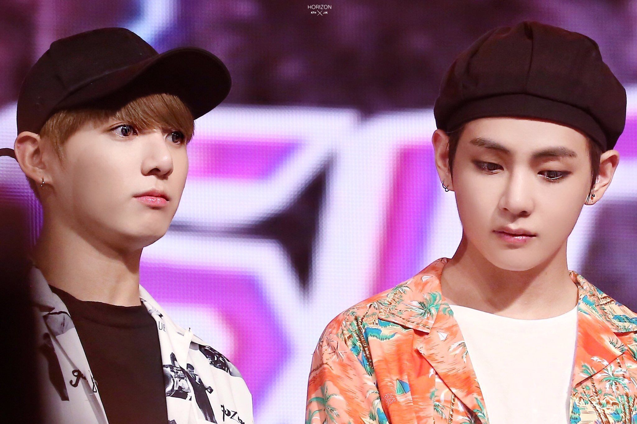 Vkook @ music bank in Singapore
