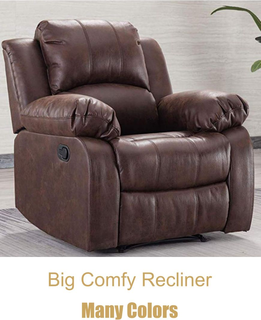 Lana Manual Recliner Club Chairs Brown Leather Recliner Chair