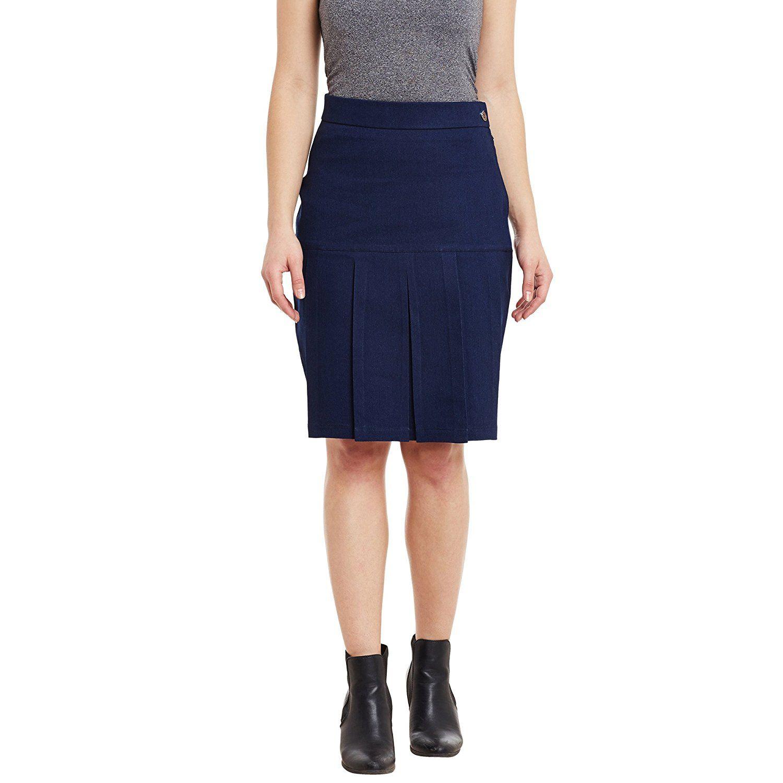 fa64f264e Rider Republic Women Solid Denim Pencil Skirt(Blue_34): Amazon.in: Clothing