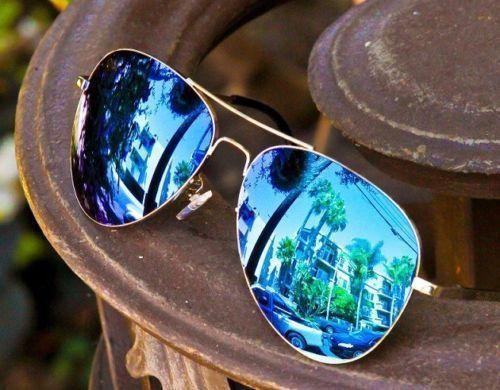 7e582f04ac Blue Mirror Aviator Womens Sunglasses Silver Frame Hot Famous Cool  Sunglasses Men Women