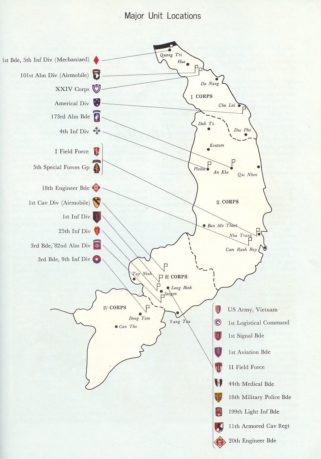 1969 Map Military of Vietnam | Major Units Locations - 1969