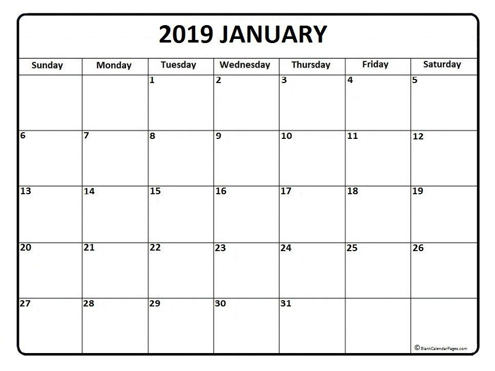 January 2019 Calendar Free   January Month   Calendar 2019 printable