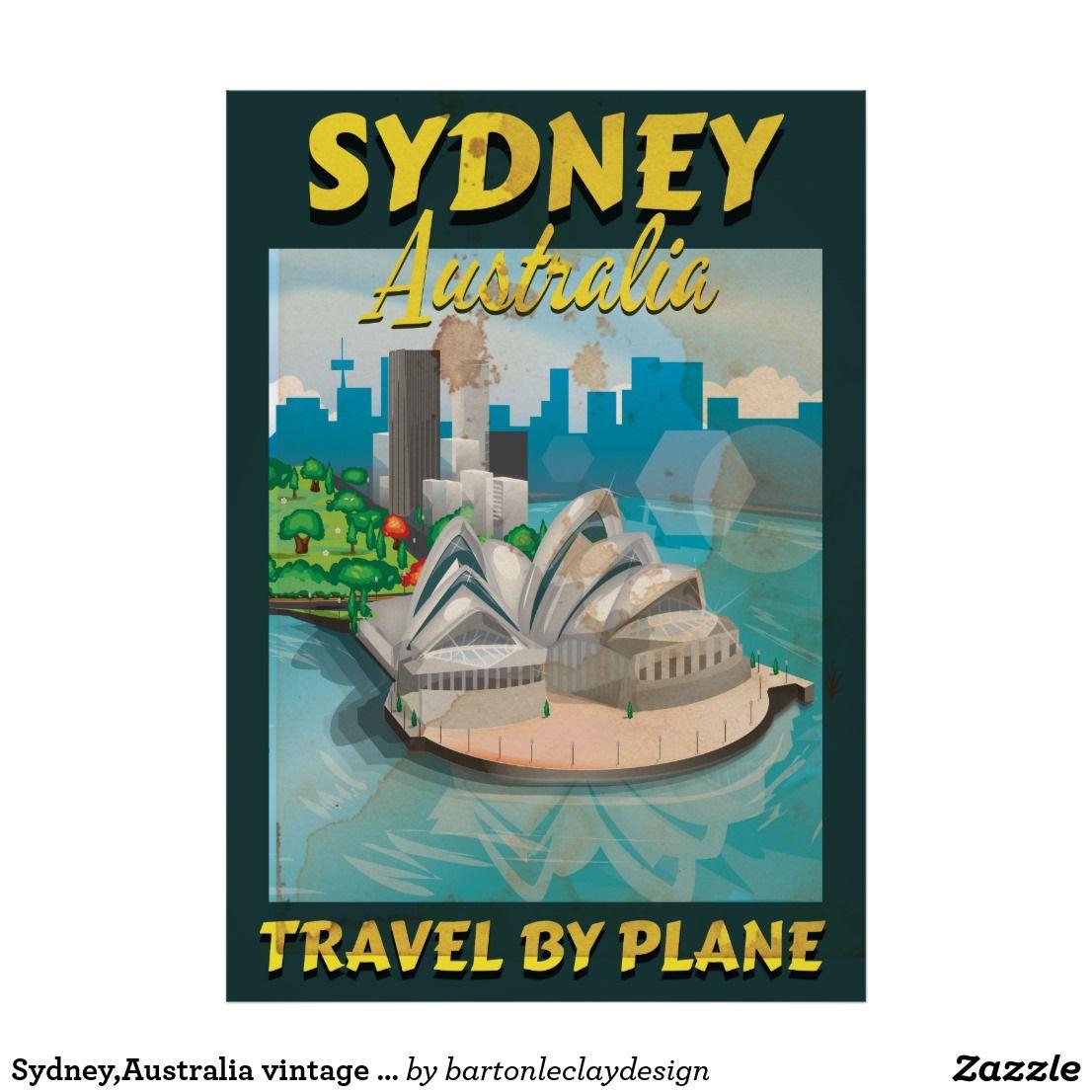 Sydney Australia Vintage Travel Poster Zazzle Com Vintage Travel Posters Travel Posters Vintage Travel