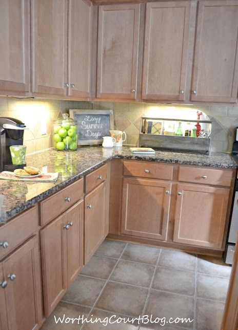 All About the Details Kitchen Tour | Maple kitchen ... on What Color Backsplash With Maple Cabinets  id=96629
