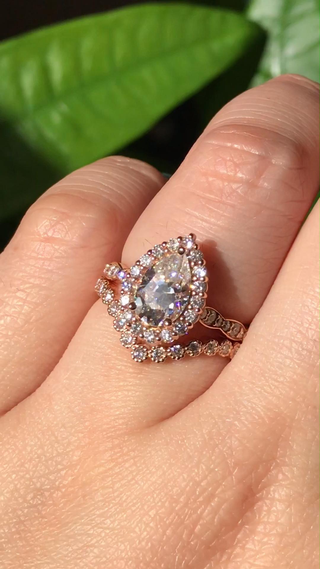 Moissanite Engagement Ring 14K White Gold Ring Unique