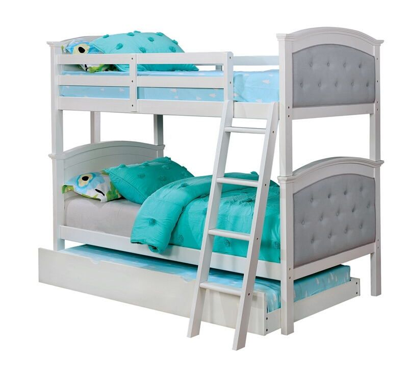 Cm Bk715wh Freda Twin Over Twin White Finish Wood And Padded And