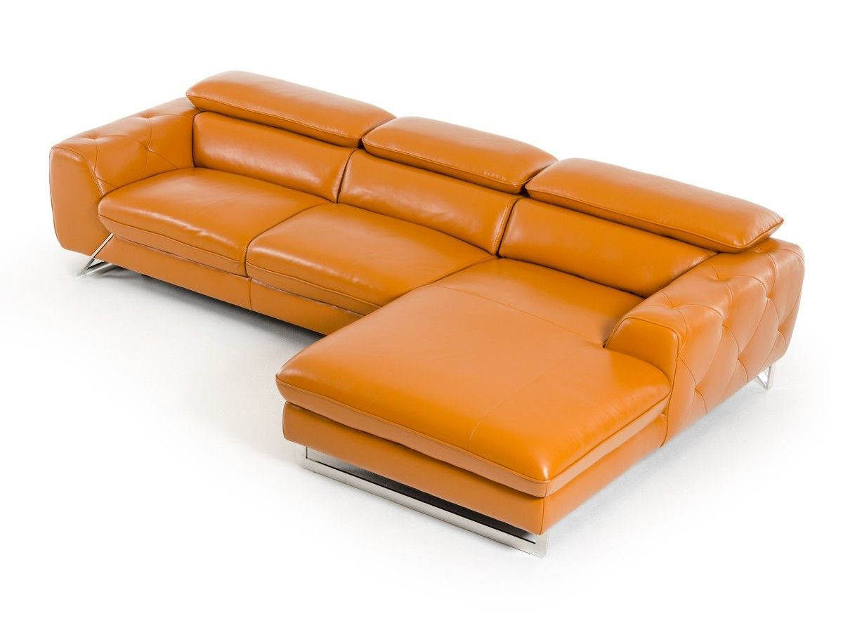 laf chaise leather facing divani casa orange wisteria sectional couch left web sofa w modern