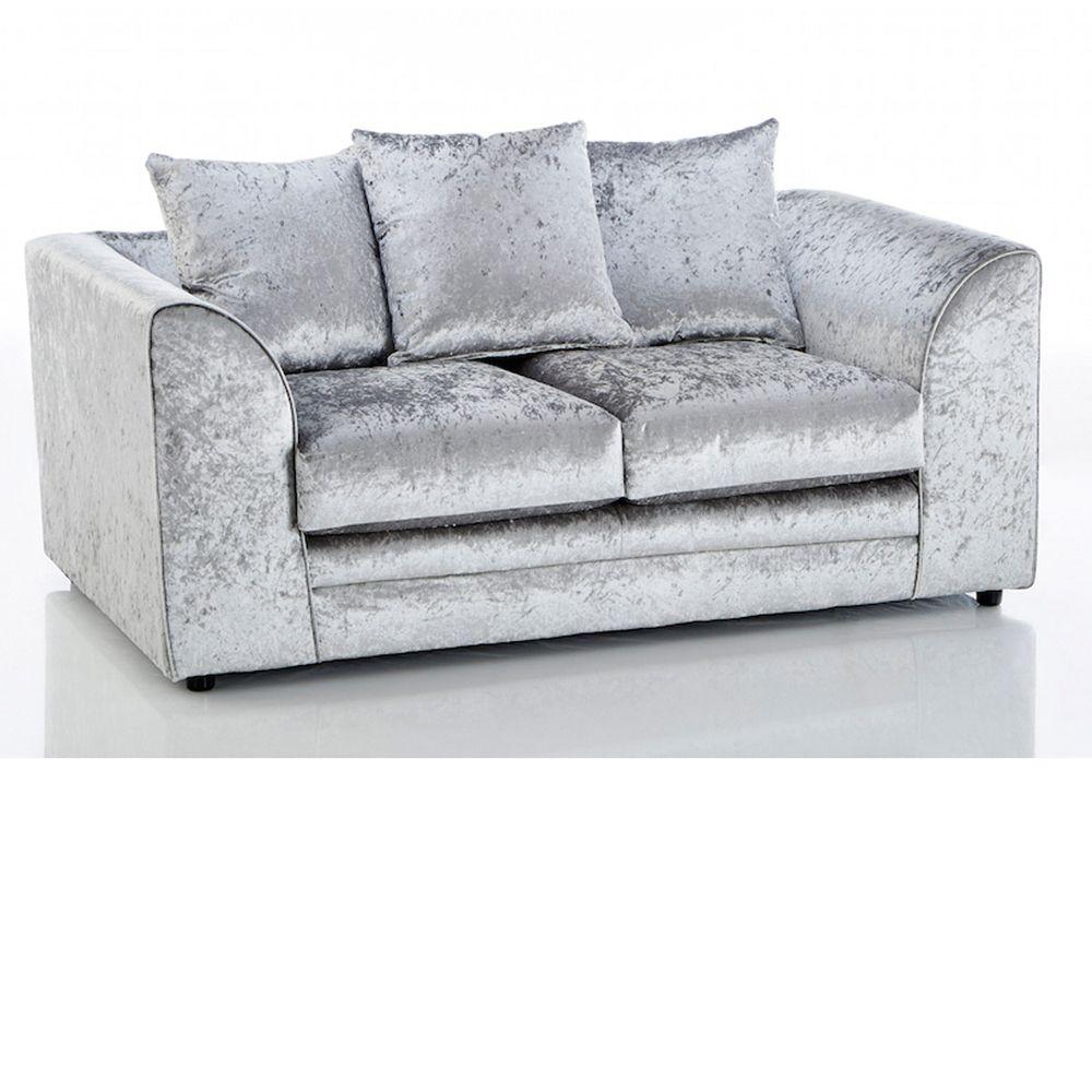 Crushed Velvet Michigan Velvet 2 Seater Sofa Silver 2 Seater