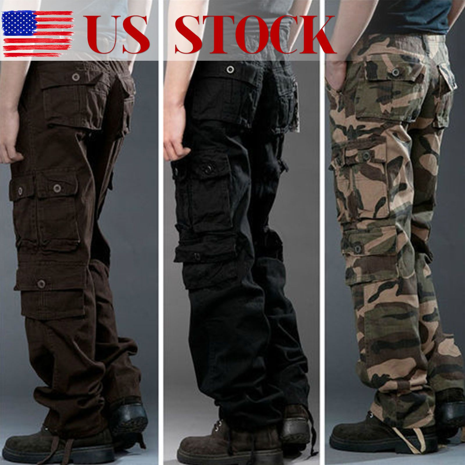 f917ffce501 New Military Mens Cargo Pants Combat Camouflage Camo Tactical Army Work  Trousers