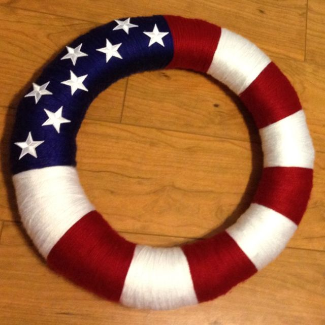 My first Pinterest inspired craft! Fourth of July Wreath